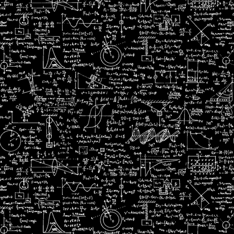 physics equations on chalkboard fabric thinline