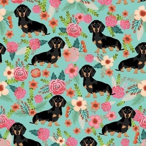doxie dog dachshund dachshunds fabric cute flowers mint girls sweet baby clothing fabric organic fabric for babies