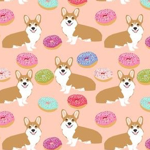 corgi and donuts doughnuts cute welsh pembroke corgi cardigan corgi dog pet dog fabric cute dog fabric best dog fabrics