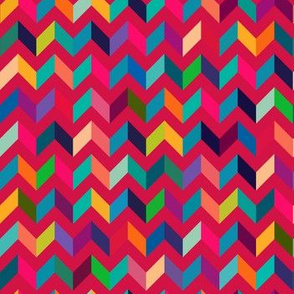 Chevron Mulit Color on Red
