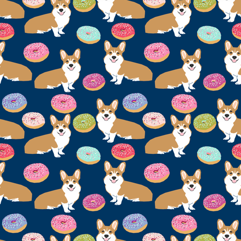 Corgi Donuts Navy Blue Kids Baby Cute Dogs Pet Dog Fabric