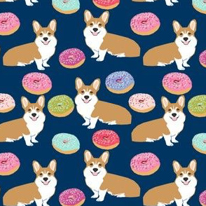 corgi donuts navy blue kids baby cute dogs pet dog