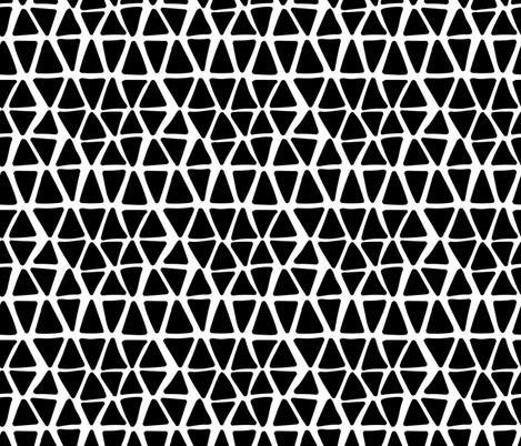 Black and White Triangles Hand Drawn fabric by khaus on Spoonflower - custom fabric