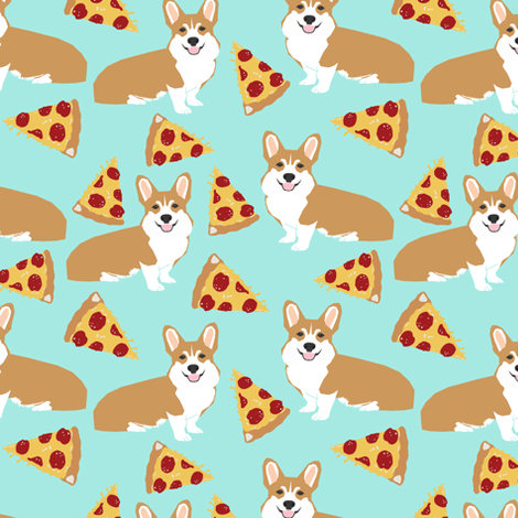 corgi pizza mint dog pet dogs corgis cute  mint pizza food novelty fabric fabric by petfriendly on Spoonflower - custom fabric