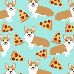 corgi pizza mint dog pet dogs corgis cute  mint pizza food novelty fabric