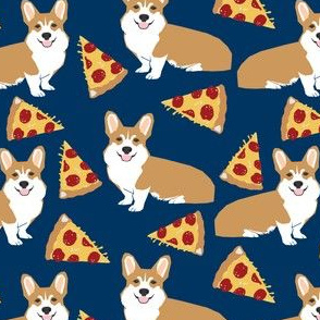 corgi pizza navy blue kids cute funny corgis dog dogs pet dog cute trendy fabric for baby leggings