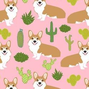 corgi cute cactus dogs pet dog cactus pink summer tropical girls baby sweet dogs