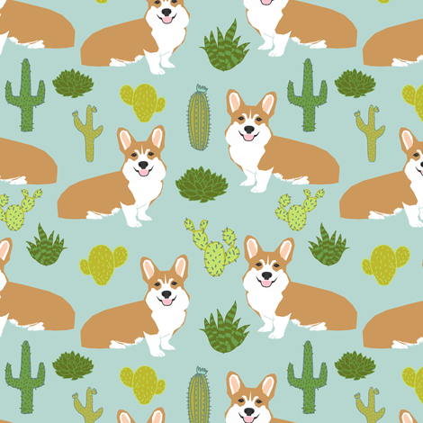 corgi cactus cute dogs dog sweet pet dogs mint fabric fabric by petfriendly on Spoonflower - custom fabric