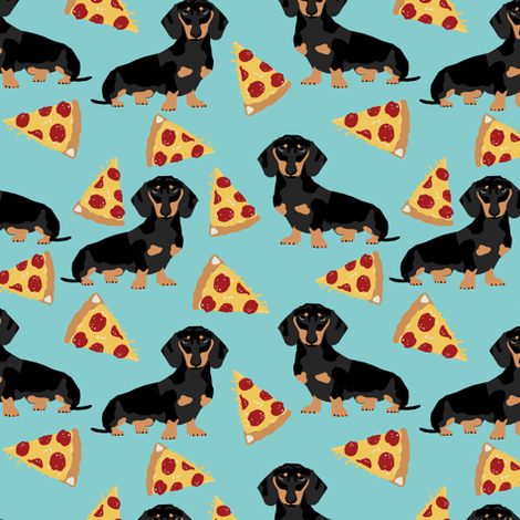 doxie dachshund pizza food novelty kids funny dogs pets cute doxie dachshunds fabric by petfriendly on Spoonflower - custom fabric