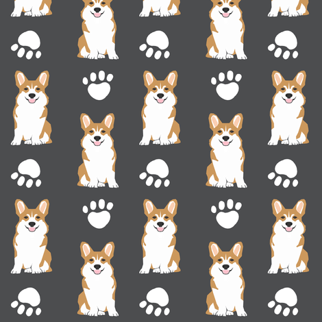 corgi corgis dog dog paw cute charcoal fabric by petfriendly on Spoonflower - custom fabric