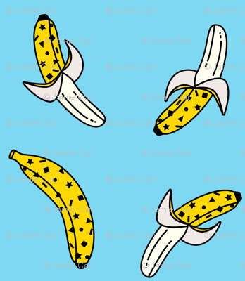 80s banana print blue