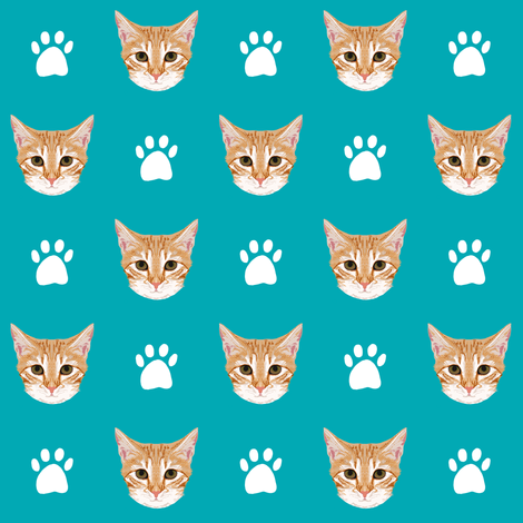 orange tabby cat cute cat cats kitten kitty cute paws turquoise cats cat lady fabric by petfriendly on Spoonflower - custom fabric
