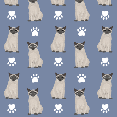 siamese cat blue cute cats kitten kitty cute cats paws pets cat ladies cat head fabric by petfriendly on Spoonflower - custom fabric