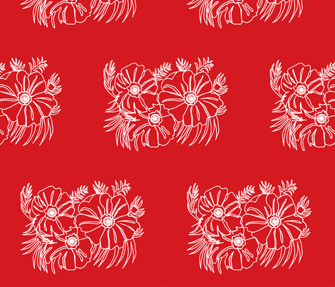 reversed outline flower fabric by snap-dragon on Spoonflower - custom fabric