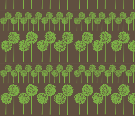 greenseedheads on brown fabric by snap-dragon on Spoonflower - custom fabric