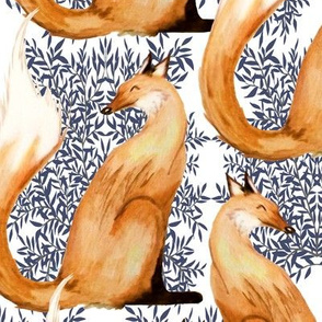 Fox Watercolor Toile
