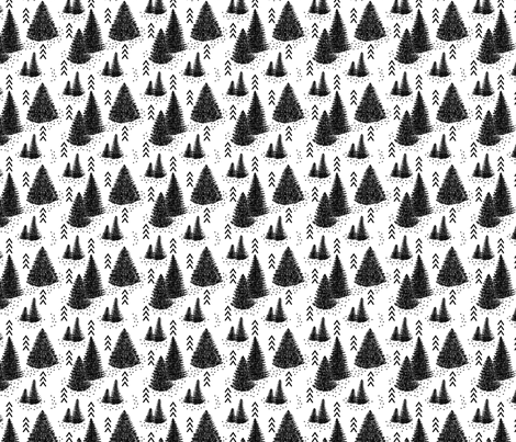 Pine forest // Black and white fabric by howjoyful on Spoonflower - custom fabric