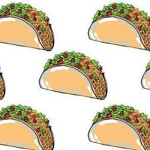 "Tacos on white 2.5"" x 2"""