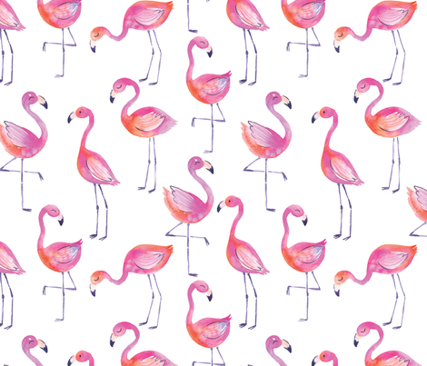 Fancy Flamingos in Watercolor fabric by sarahschaitkin on Spoonflower - custom fabric
