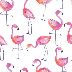 Fancy Flamingos in Watercolor