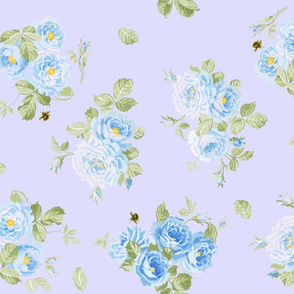 Springwater Roses on blue-violet