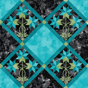 Cheater Quilt Double Peony Pattern Aqua Black Green