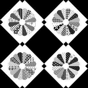 Cheater Quilt Dresdens Plate Pattern Black