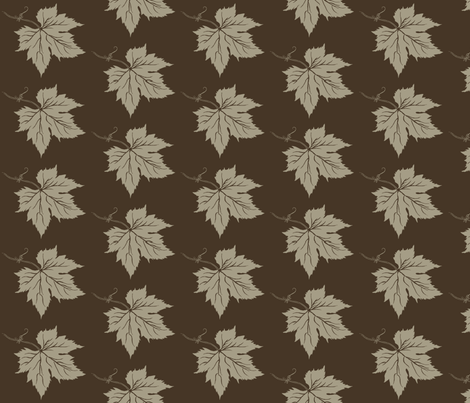 An Old Linen Hop Leaf on Dark Brown fabric by a_bushel_of_hops on Spoonflower - custom fabric