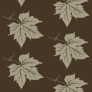 An Old Linen Hop Leaf on Dark Brown