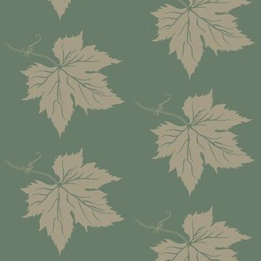 An Old Linen Hop Leaf on Dark Green