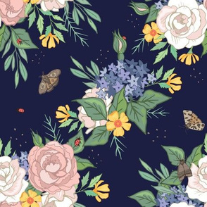 Roses and Buttercups on Dark Blue