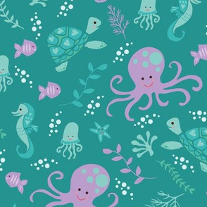 Under the Sea - Octopus on Teal