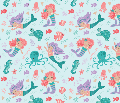 Under The Sea - Mermaids fabric by angie_spurgeon on Spoonflower - custom fabric