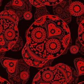 Black and Red Sugar Skulls