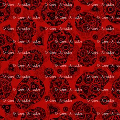 Red and Black Sugar Skulls