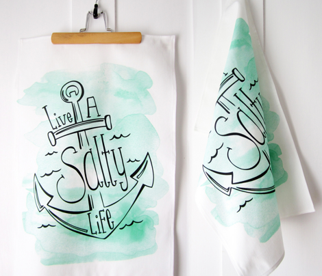 Live A Salty Life Tea Towel - Nautical Anchor Aqua Watercolor