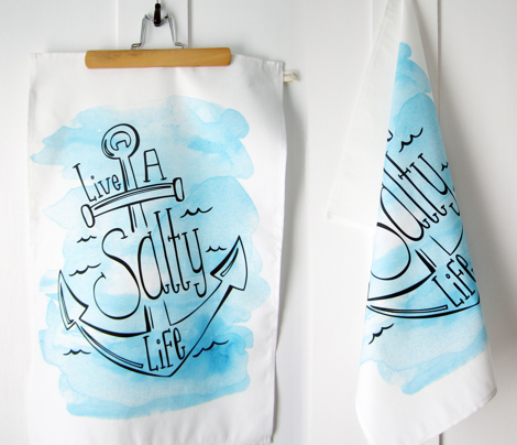 Live A Salty Life Tea Towel - Nautical Anchor Blue Watercolor