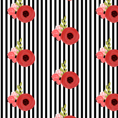 Red roses on Black and White Stripes fabric by ajoyfulriot on Spoonflower - custom fabric