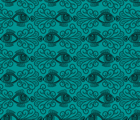 Looking out for our_blk on Green fabric by danidesign on Spoonflower - custom fabric
