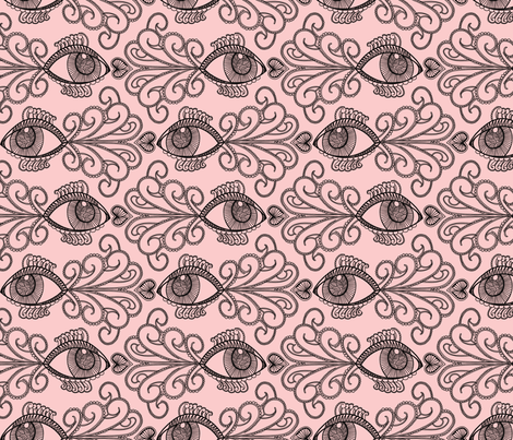 'Looking' out for our Oceans_blk on pink fabric by danidesign on Spoonflower - custom fabric