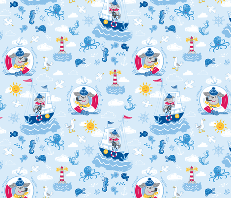 Salty Sea Dog - Sky Blue fabric by angie_spurgeon on Spoonflower - custom fabric