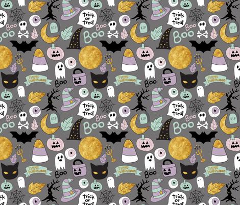 "8"" Pastel Halloween Grey fabric by greenmountainfabric on Spoonflower - custom fabric"