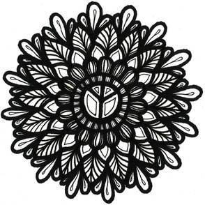 Peace flower, black and white