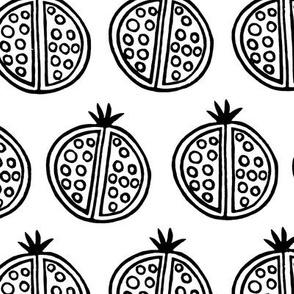 Printed Pomegranates, Black and White