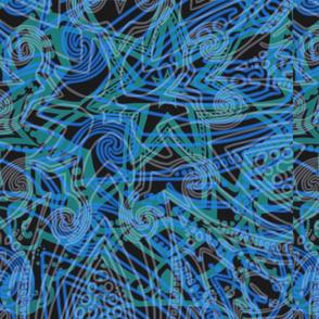 Midnight blue and green mandalas