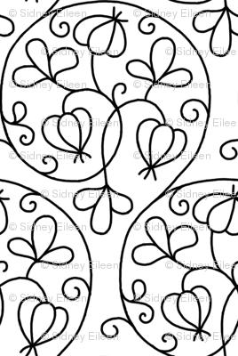 Swirly Elizabethan Floral Blackwork
