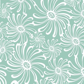 Bursting Bloom Floral - Aqua
