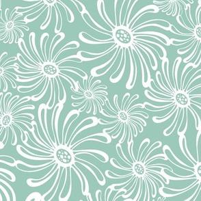 Bursting Bloom Floral - Aqua