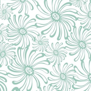 Bursting Bloom Floral - White & Aqua