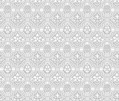 Elizabethan Carpet Floral Blackwork fabric by sidney_eileen on Spoonflower - custom fabric
